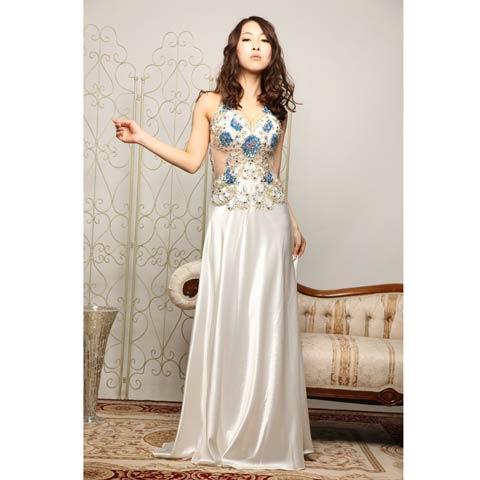 [LuxeStyle]豪華ビジュー付きウエスト透けホルターサテンロングドレス[91102L](ホワイト×ブルー-S)