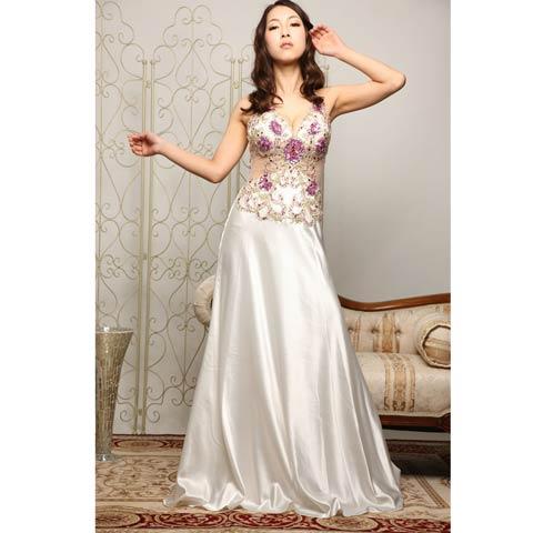 [LuxeStyle]豪華ビジュー付きウエスト透けホルターサテンロングドレス[91102L](ホワイト×ピンク-S)