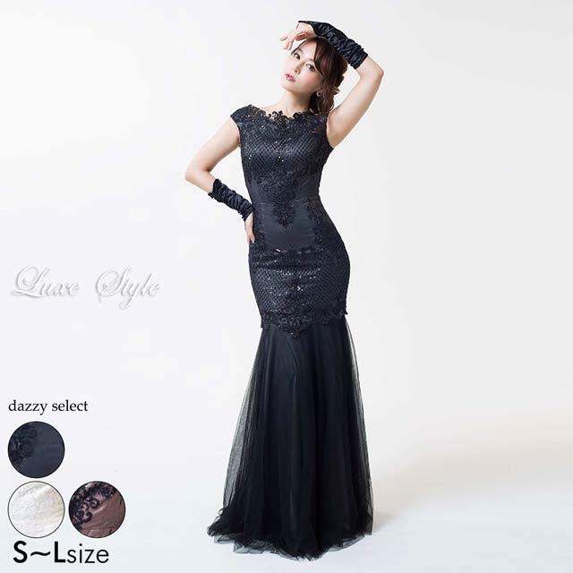 【P★10倍】[Luxe Style]スパンコールx刺繍マーメイドロングドレス[51703][送料無料]