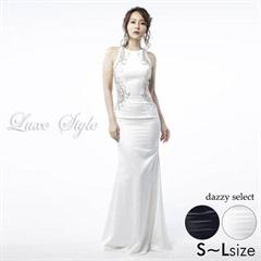 【P★10倍】[LuxeStyle]バックオープンレースホルターネックマーメイドロングドレス[51702][送料無料]