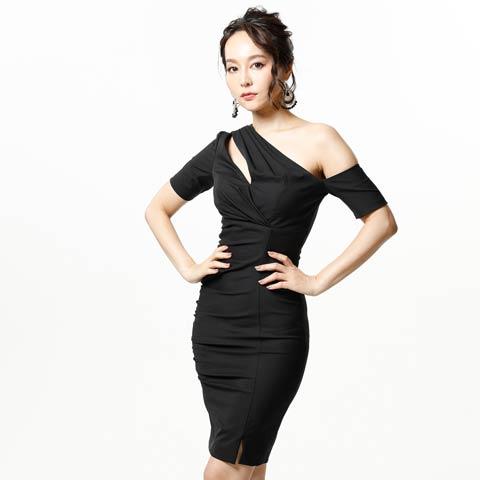 [Alice]ワンショル風膝丈タイト膝丈ドレス[72801](BLK-S)