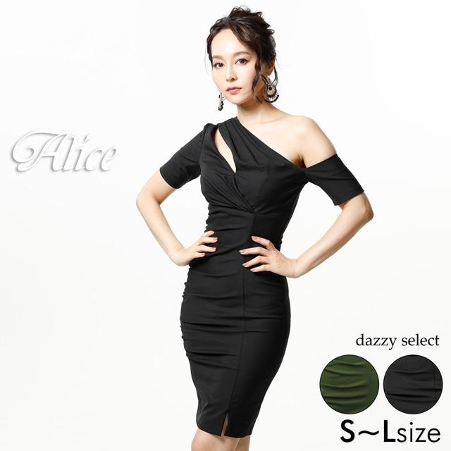 [Alice]ワンショル風膝丈タイト膝丈ドレス[72801]