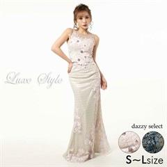 【P★10倍】[LuxeStyle]フラワー刺繍ドットチュールタイトロングドレス[51821][送料無料]