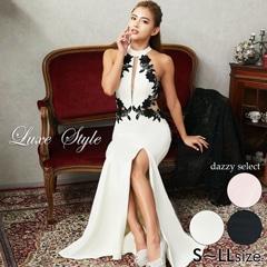 [LuxeStyle]フラワー刺繍アメスリタイトロングドレス[19008]