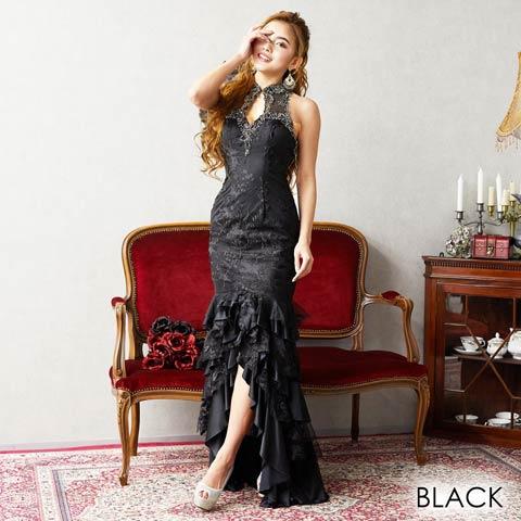 [LuxeStyle]フラワーレースボリュームフリルロングドレス[19016](ブラック-Sサイズ)