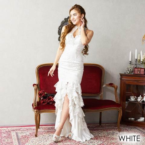 [LuxeStyle]フラワーレースボリュームフリルロングドレス[19016](ホワイト-Sサイズ)