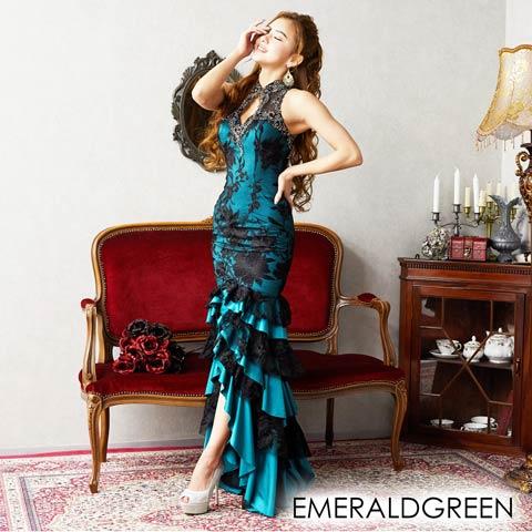 [LuxeStyle]フラワーレースボリュームフリルロングドレス[19016](エメラルドグリーン-Sサイズ)