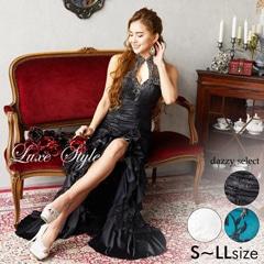 [LuxeStyle]フラワーレースボリュームフリルロングドレス[19016]