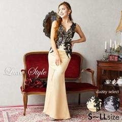 [LuxeStyle]ブラック刺繍レースロングドレス[19017]