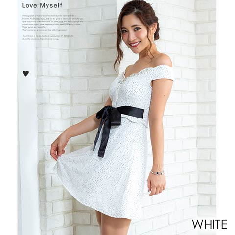 総レースプリントドッキングフレアミニドレス[mydress](White)