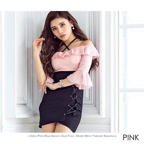 フリル5分袖デザインスピンドルタイトミニドレス[mydress](ピンク-フリーサイズ)
