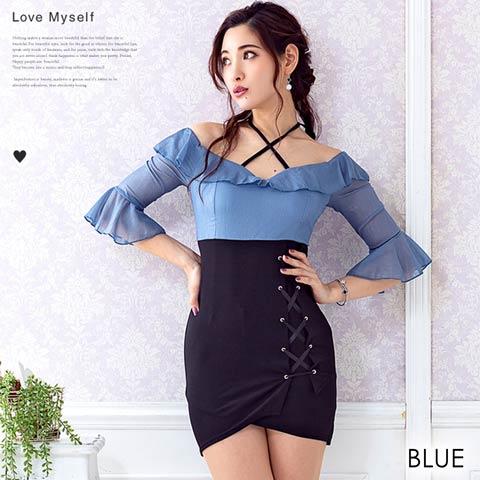 フリル5分袖デザインスピンドルタイトミニドレス[mydress](ブルー-フリーサイズ)