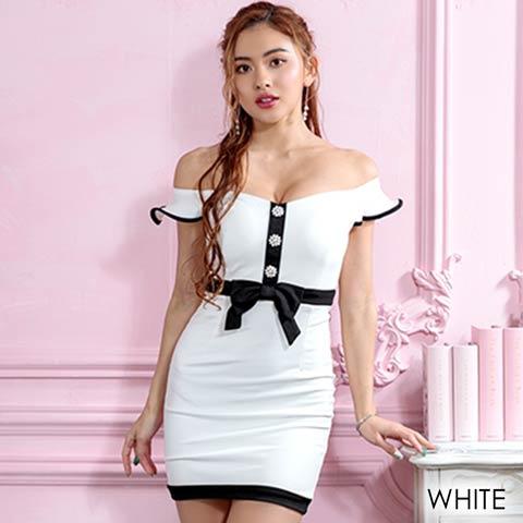 クラシカル愛されデザインオフショルタイトミニドレス(ホワイト-フリーサイズ)
