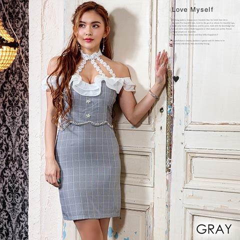 [3サイズ]デコルテチョーカー風デザインドッキングタイトドレス(グレー-Sサイズ)