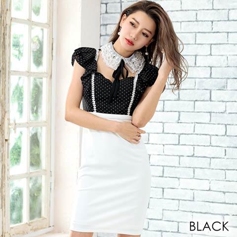 ちょこんとレース襟谷間魅せドッキングタイトミニドレス(ブラック-Sサイズ)