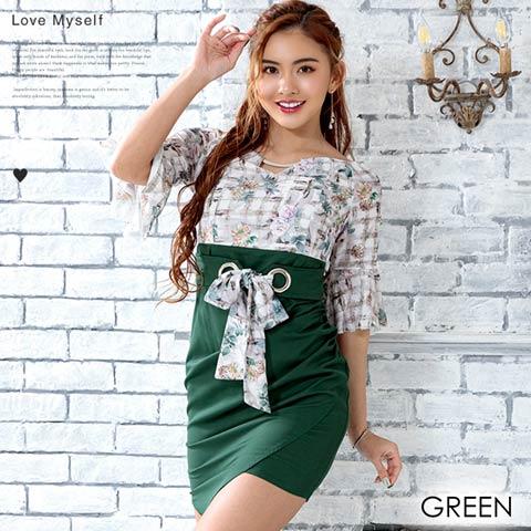 [2サイズ]チェックxフラワー柄ハイウエストタイトドレス(グリーン-Sサイズ)