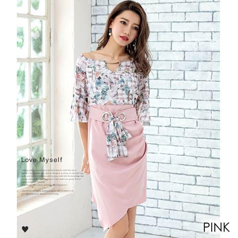 [2サイズ]チェックxフラワー柄ハイウエストタイトドレス(ピンク-Sサイズ)