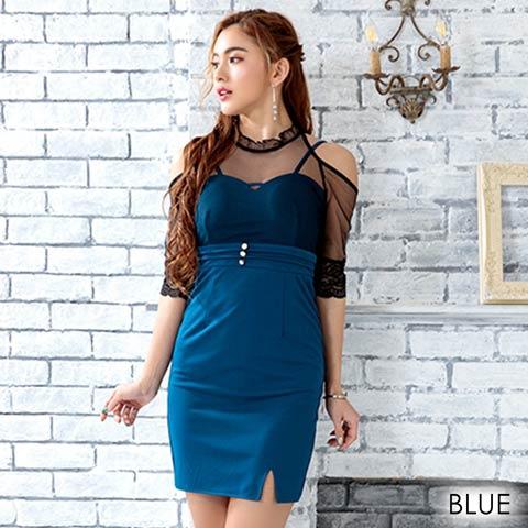 [2サイズ]カットアウトショルダーデコルテシアーミニドレス(ブルー-Sサイズ)