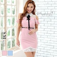 クラシカル襟デザインタイトミニドレス