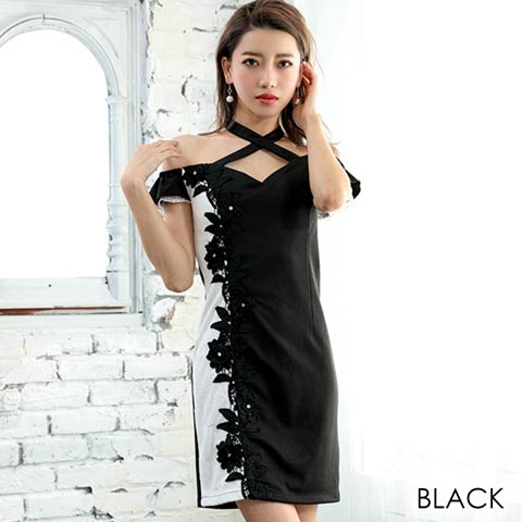 チョーカー風ショルダーアシメレースタイトミニドレス(ブラック-Sサイズ)