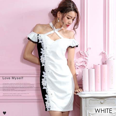 チョーカー風ショルダーアシメレースタイトミニドレス(ホワイト-Sサイズ)