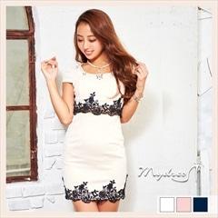 2ピース風レース装飾袖つきタイトミニドレス[my dress]