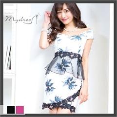 リーフ柄ペプラムタイトミニドレス[my dress]