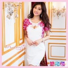 花柄袖つきタイトミニドレス[my dress]