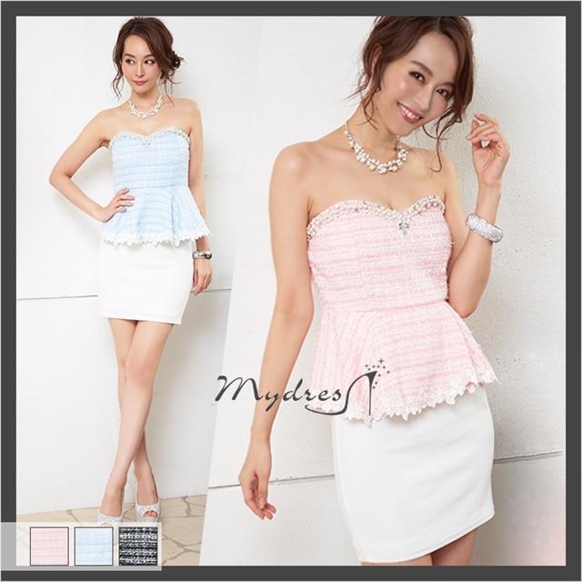 e55066a509e59 ツイード生地ベアペプラムタイトミニドレス my dress の通販はdazzystore ...