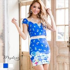 2ピース風大柄フラワータイトミニドレス[my dress]