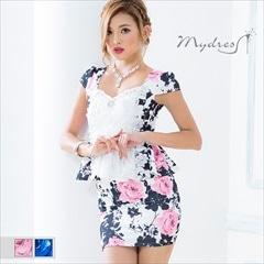 ポイントカラーモノトーンペプラムミニドレス[my dress]