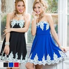 ベアタイプレース装飾フレアミニドレス [my dress]