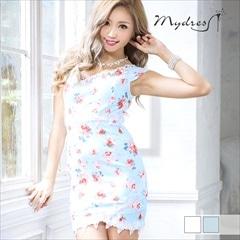 ALLフラワーオフショルタイトミニドレス[my dress]