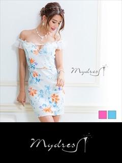 チュールオフショルデザイン トロピカルフラワータイトミニドレス[my dress]