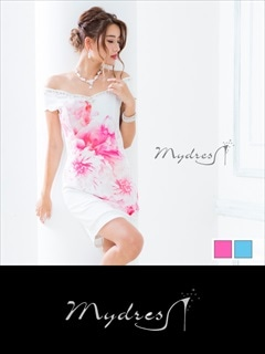 オフショルスカラップ スイートフラワータイトミニドレス [my dress]