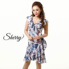 [SHERRY]リーフプリントカシュクール風フリルタイトドレス[52823]
