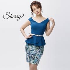【Sherry】フレアペプラムリーフプリントミニドレス[52812]