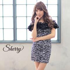 【Sherry】ダブルフリルのオフショルダータイトミニドレス[24005]