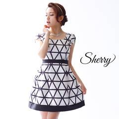 5/29UP【Sherry】[SMLサイズ]ジオメトリーチェックタイトミニドレス [3サイズ展開][52622]