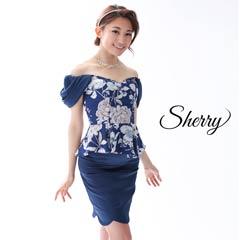 【Sherry】ドレープオフショルダーフラワープリントタイトミニドレス[81502]