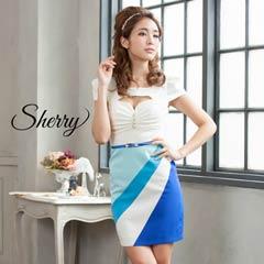 【Sherry】[SMLサイズ]斜め切り替え配色タイトミニドレス [3サイズ展開][71505]