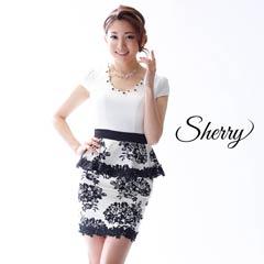 【Sherry】モノトーンフラワープリントペプラムタイトミニドレス[71427]