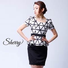 5/25UP【Sherry】[S/Mサイズ]ジオメトリーチェックタイトミニドレス [2サイズ展開][52622]