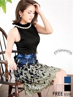 大粒パールネックレスモチーフウエストリボン付きアメスリ刺繍Aラインフレアミニドレス