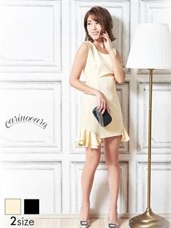 [S/Mサイズ]ワンカラー裾フリルノースリタイトミニドレス[2サイズ展開]