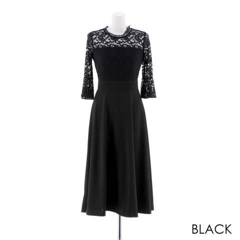 [SMLサイズ]フラワーシアーレースAライン膝丈ドレス[3サイズ展開](ブラック-Sサイズ)