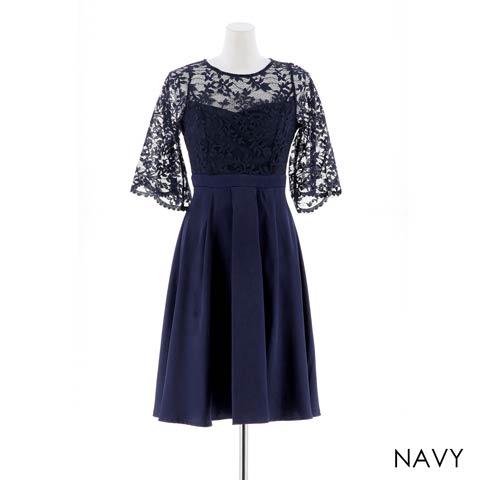 [SMLサイズ]エアリーボタニカルレースAライン膝丈ドレス[3サイズ展開](ネイビー-Sサイズ)