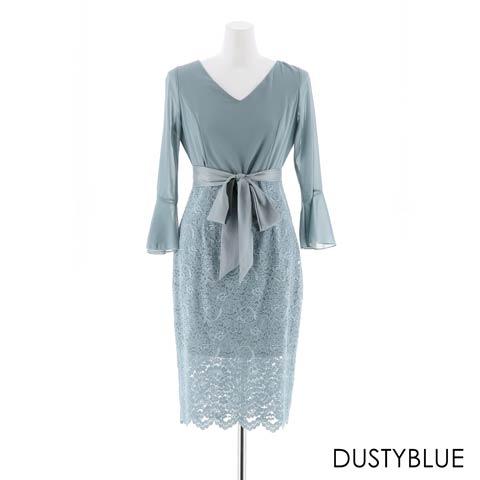 [SMLサイズ]エレガンスタイト膝丈ドレス[3サイズ展開](ダスティーブルー-Sサイズ)