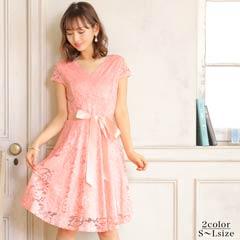 【20%OFF】[SMLサイズ]サテンリボンベルト付オールレースAライン膝丈ドレス[3サイズ展開]