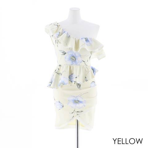 [SMLサイズ]花柄フリルワンショルタイトミニドレス[3サイズ展開](イエロー-Sサイズ)
